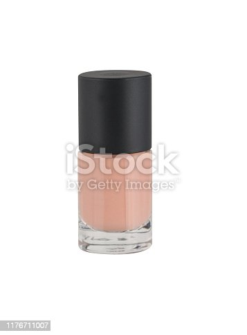 Nude nail polish bottle isolated on white