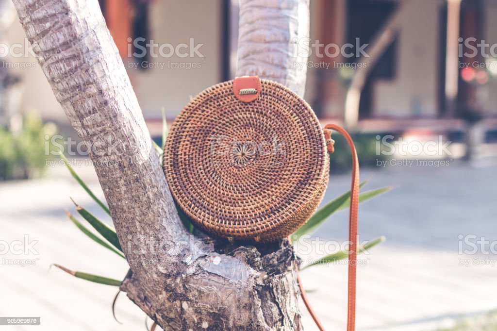 Nude Natural organic handmade rattan handbag closeup - Royalty-free Backgrounds Stock Photo