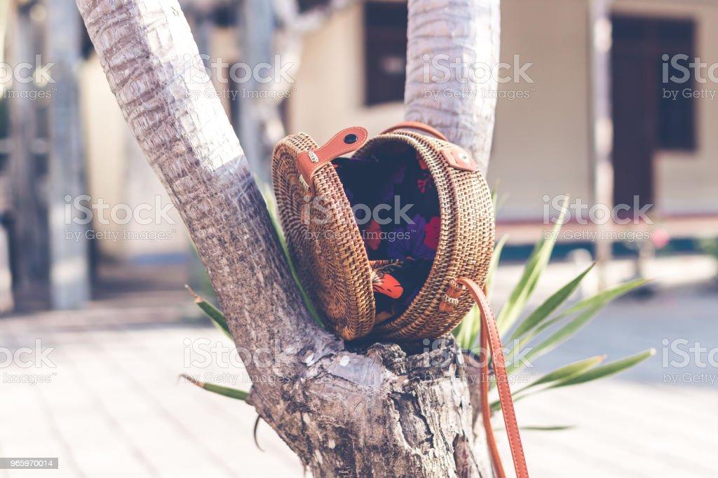 Nackte natürlichen organischen handgefertigte Rattan Handtasche closeup - Lizenzfrei Accessoires Stock-Foto