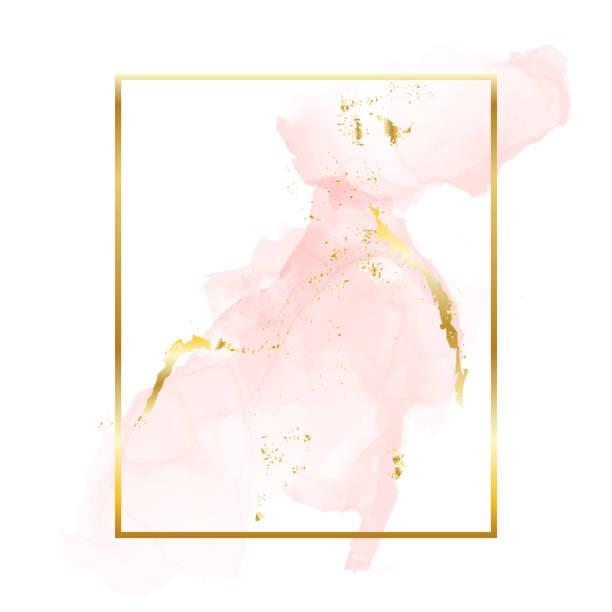 nude rose gold brush strokes in rectangle foil contour frame. watercolor rose gold blush texture template - приглашение стоковые фото и изображения