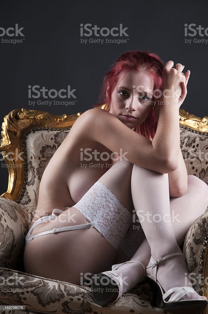 Nude shot of redhead stock photo