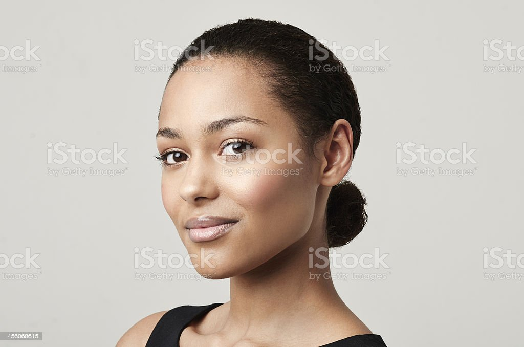 Nude tones suit my complexion stock photo