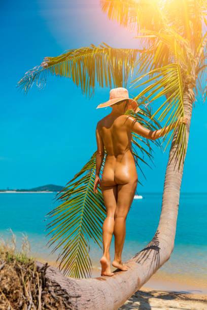 nackte frau am tropischen strand - fkk strand stock-fotos und bilder