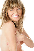 istock Nude woman covering breasts 147338676