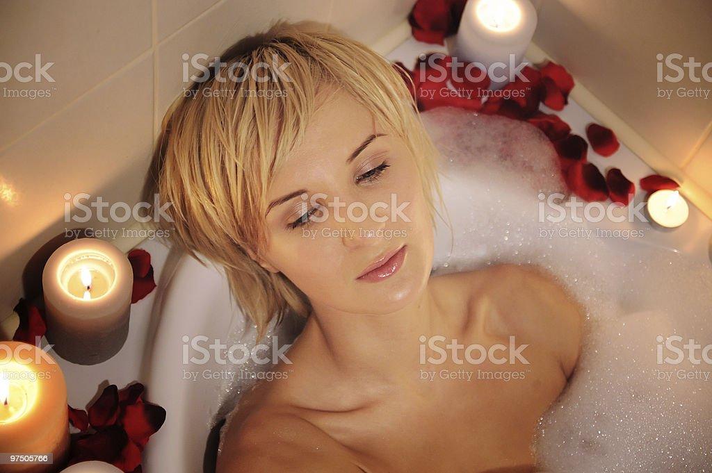 nude woman in foamy bath royalty-free stock photo