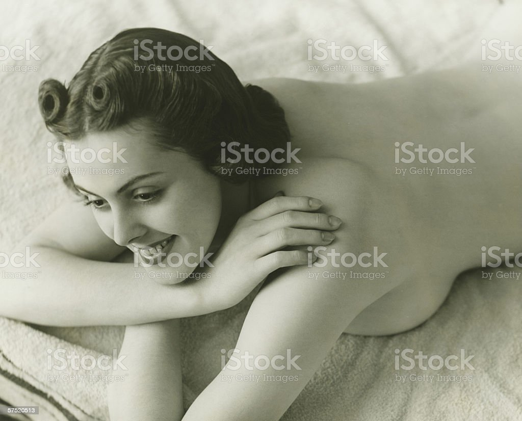Nude Woman Lying Face Down On Bed Stock Photo  More Pictures Of 1930 -2196