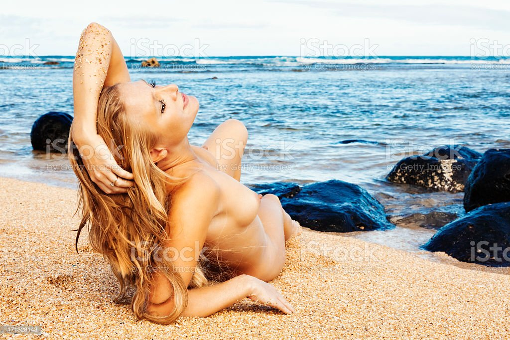 Nude Woman Sunbathing On Hawaiian Beach Stock Photo -4047