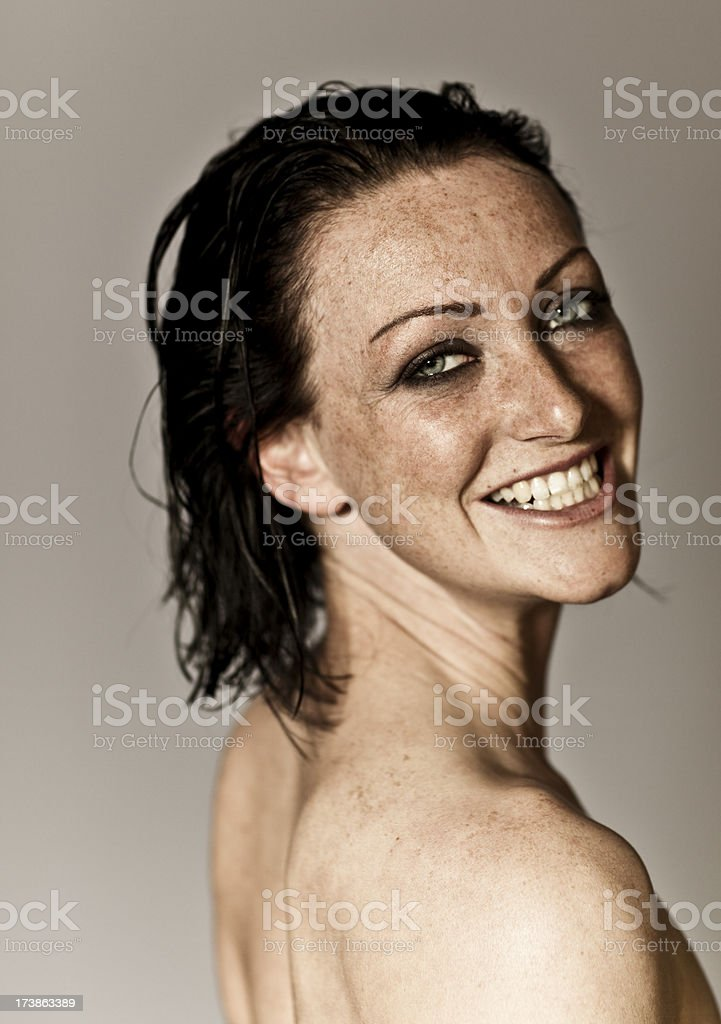 nude woman with a cheese grin royalty-free stock photo