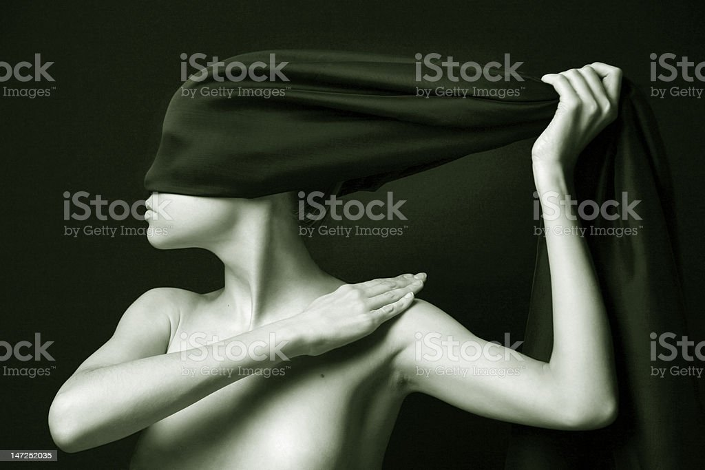 Nude woman with black bandage royalty-free stock photo