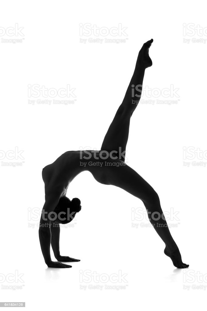 Nude yoga, artistic photos of sexy woman with perfect figure - Stock image .