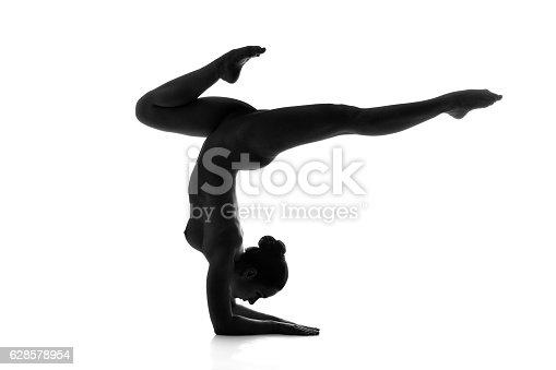 Nude Yogavrischikasana Or Scorpion Pose Isolated On White Background Stock Photo -1713
