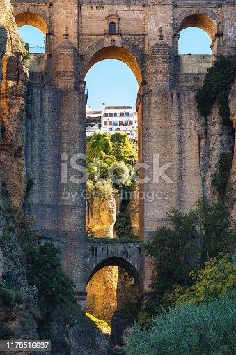 Close-up of the famous bridge Puente Nuevo in the El Tajo gorge in city of Ronda, Southern Spain.