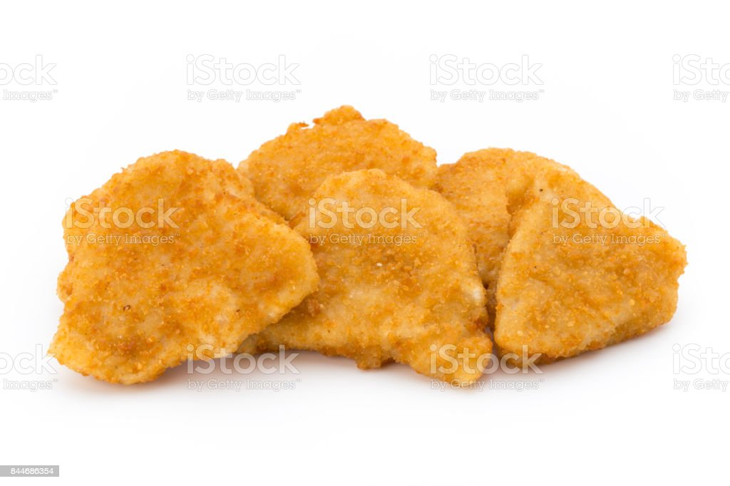 Nugget chiken on the white background. stock photo