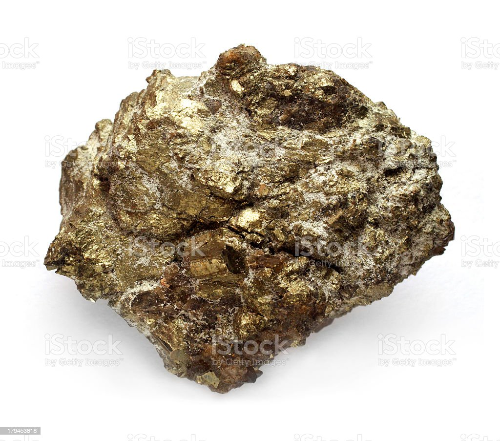 A nugget of uranium ore isolated on a white background stock photo