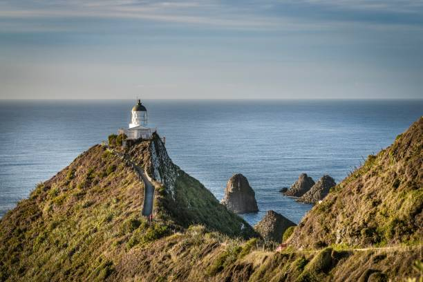 Nugget Point Lighthouse, Catlins New Zealand stock photo