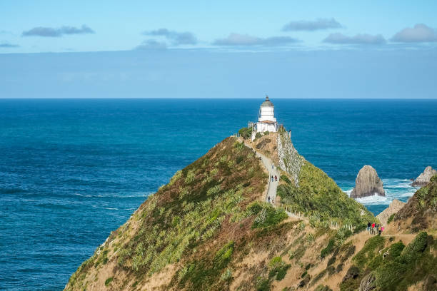 Nugget Point Lighthouse is a landmark in Otago coast of the South Island. (New Zealand) Nugget Point Lighthouse headland stock pictures, royalty-free photos & images