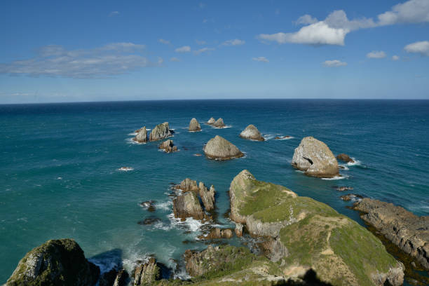 Nugget point lighthouse stock photo