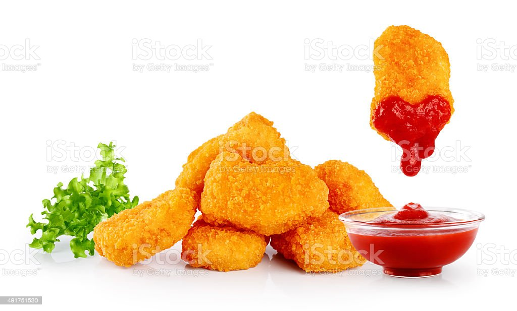 Nuggets lettuce and ketchup. stock photo