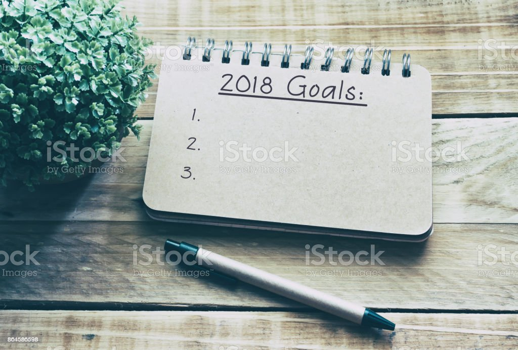 Numbe 2018 and Word Goals on Notepad Retro Style stock photo