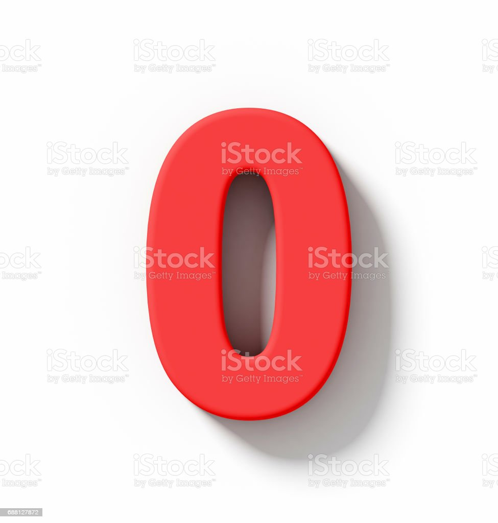 number 0 3D red isolated on white with shadow - orthogonal projection stock photo