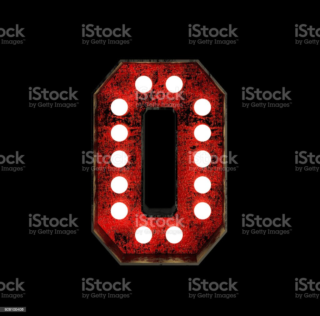 Number 0. Broadway Style Light Bulb Font stock photo