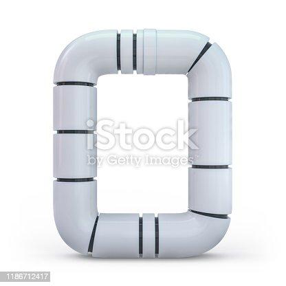 845307368 istock photo Number 0. Digital sign. Metallic futuristic white font. 3d. 1186712417
