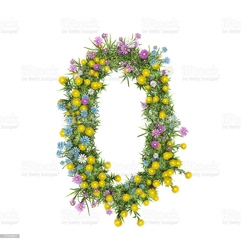 Number 0, flower alphabet isolated on white stock photo