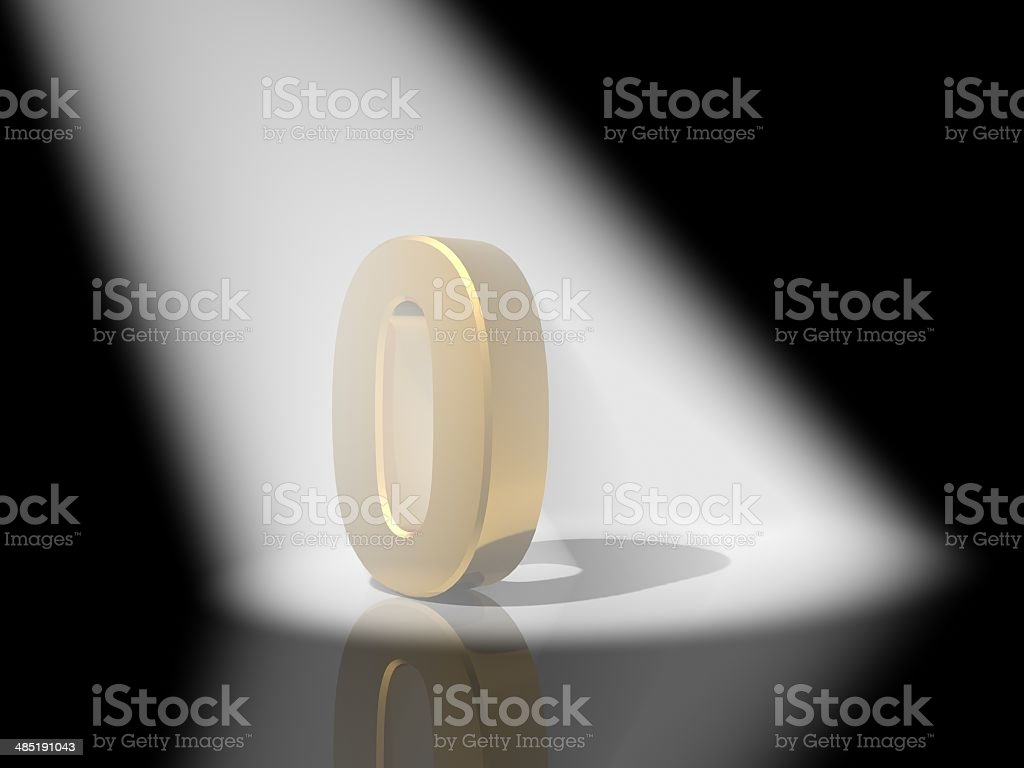 Number 0  from gold solid alphabet. stock photo