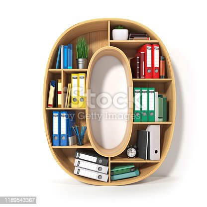 845307368 istock photo Number 0 in the form of shelves with file folder, binders and books isolated on white. Archival, stacks of documents at the office or library. 3d illustration 1189543367