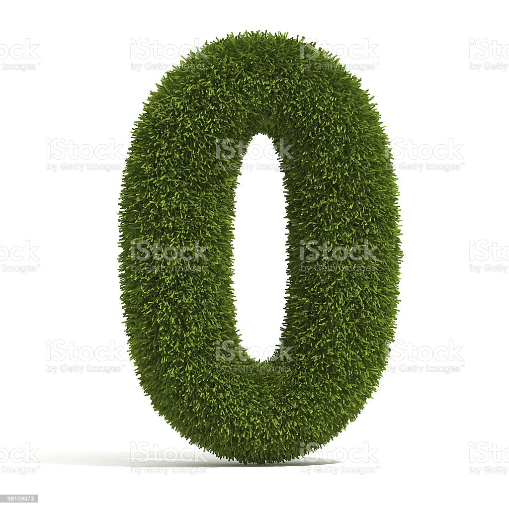 A number 0 made out of grass on a white background royalty-free stock photo
