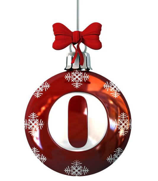 Number 0 on Red Christmas Ball stock photo