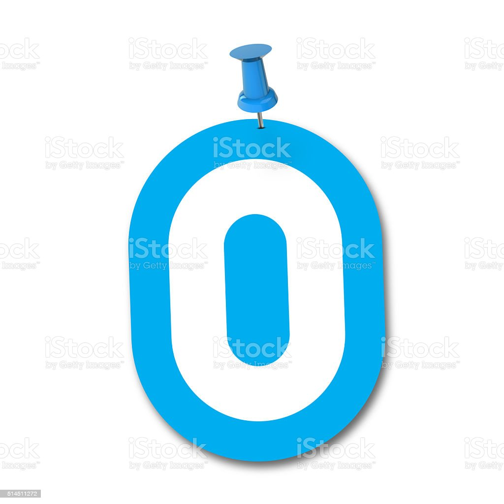 Number 0 pinned on a white background stock photo