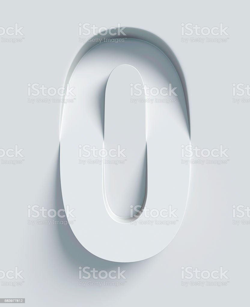 Number 0 slanted 3d font engraved and extruded from surface stock photo