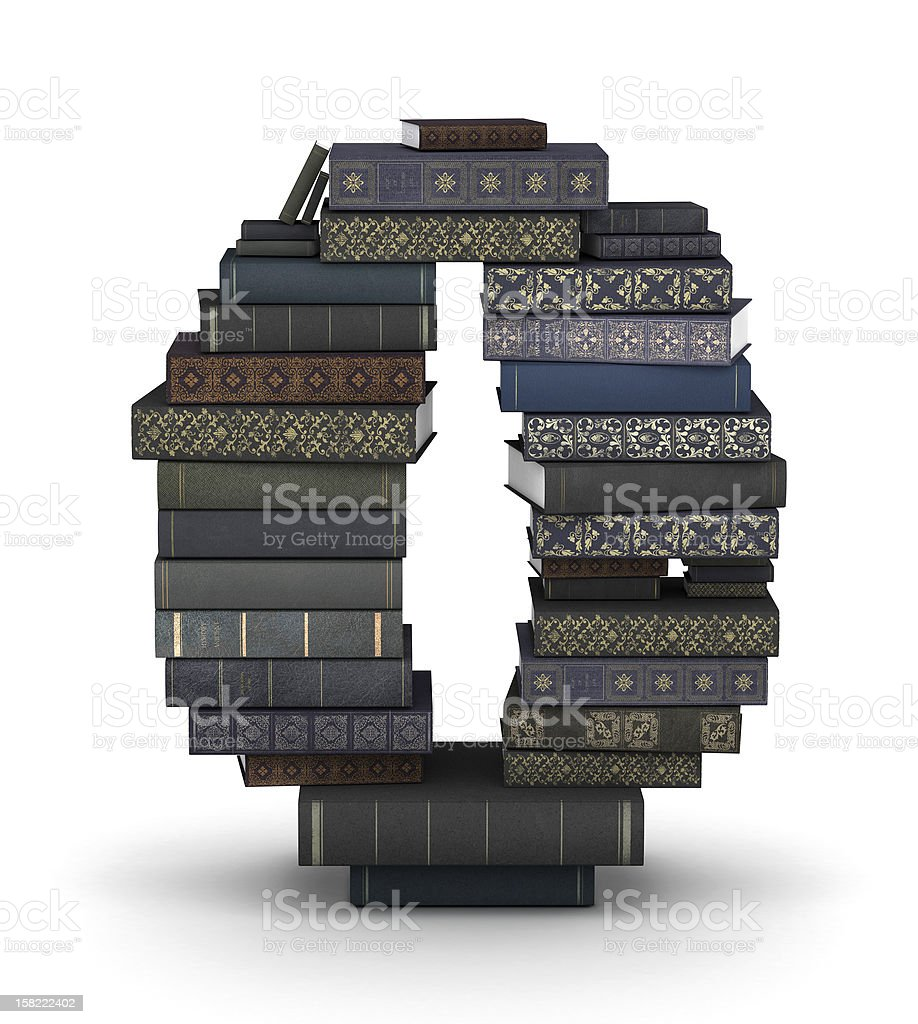 Number 0, stack of books royalty-free stock photo