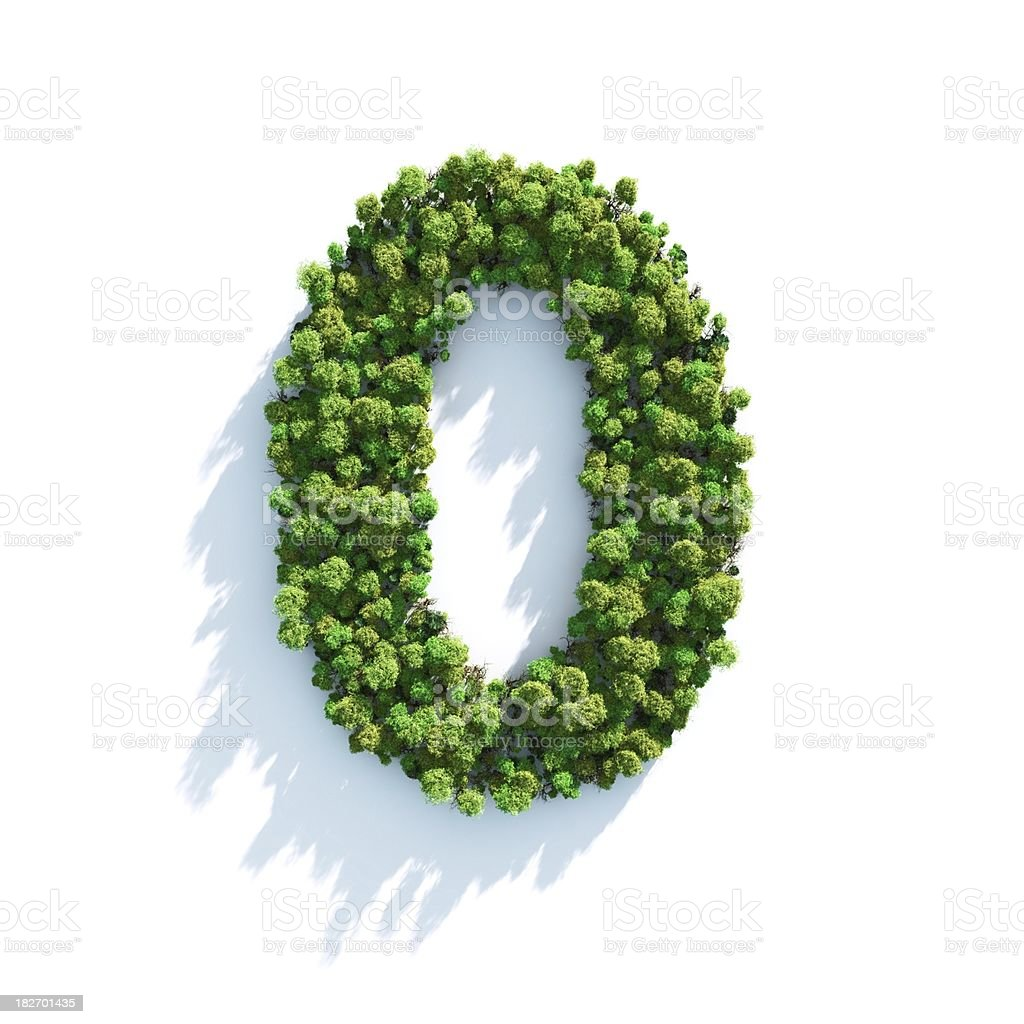 Number 0: Top View stock photo