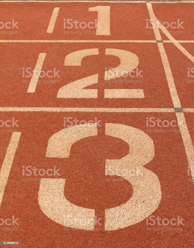 Number 1, 2 and 3 on running track. stock photo