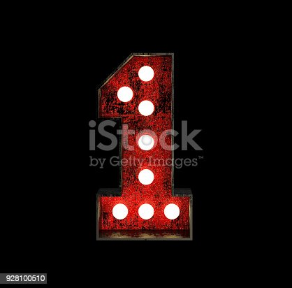 845307398istockphoto Number 1. Broadway Style Light Bulb Font 928100510