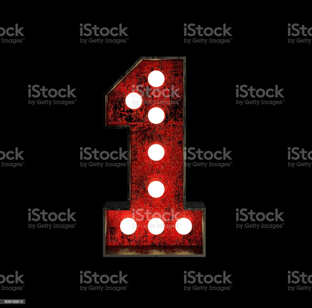 Number 1. Broadway Style Light Bulb Font stock photo