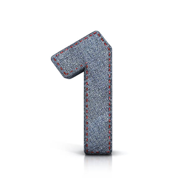Number 1, Denim (Jeans) fabric Font. stock photo