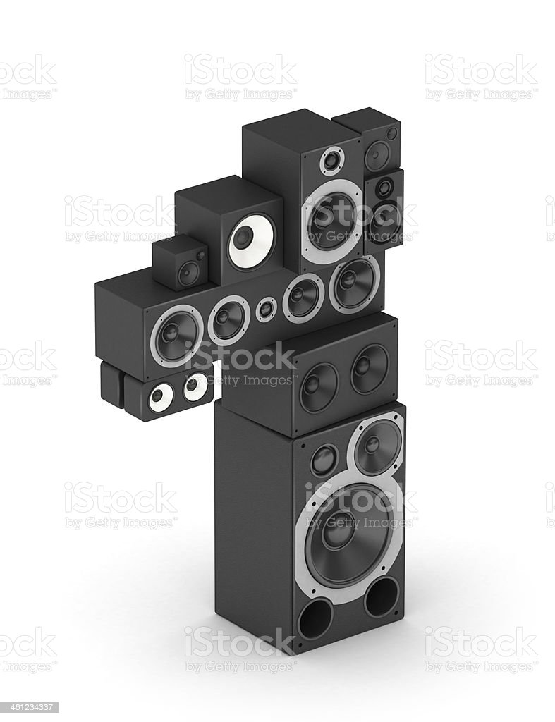 Number 1 from speaker in isometry stock photo