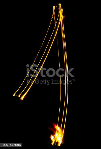 513641036istockphoto number 1, made of red tracer. burning numbers. 1091478656