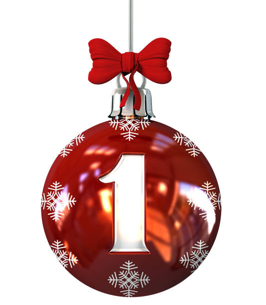 Number 1 on Red Christmas Ball stock photo