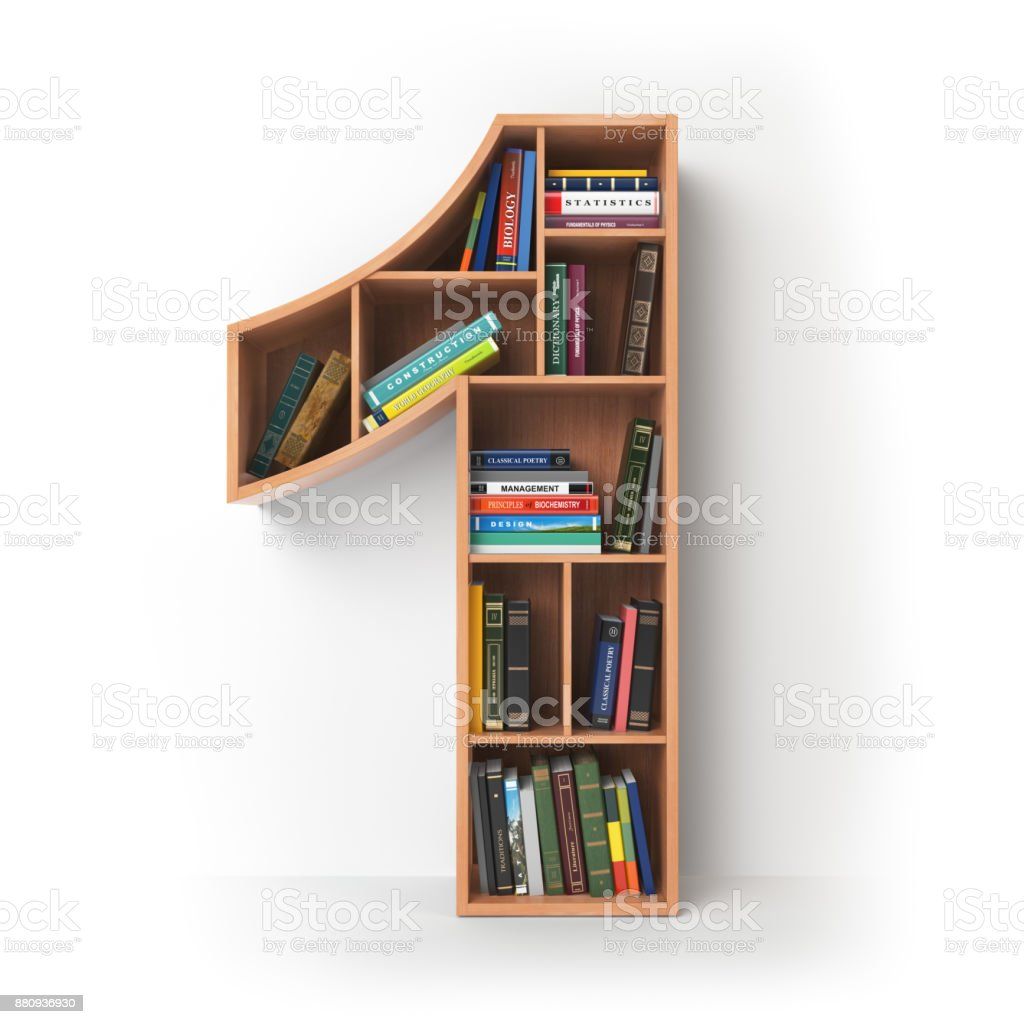 Number 1 onein the form of shelves with books isolated on white. stock photo