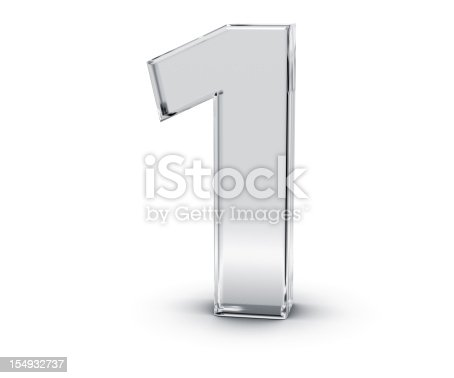 3D rendering of Number 1 made of transparent glass with Shades and Shadow isolated on white background.