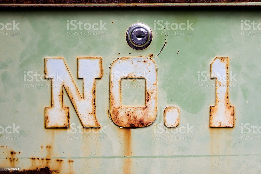 Number 1 Rusted stock photo