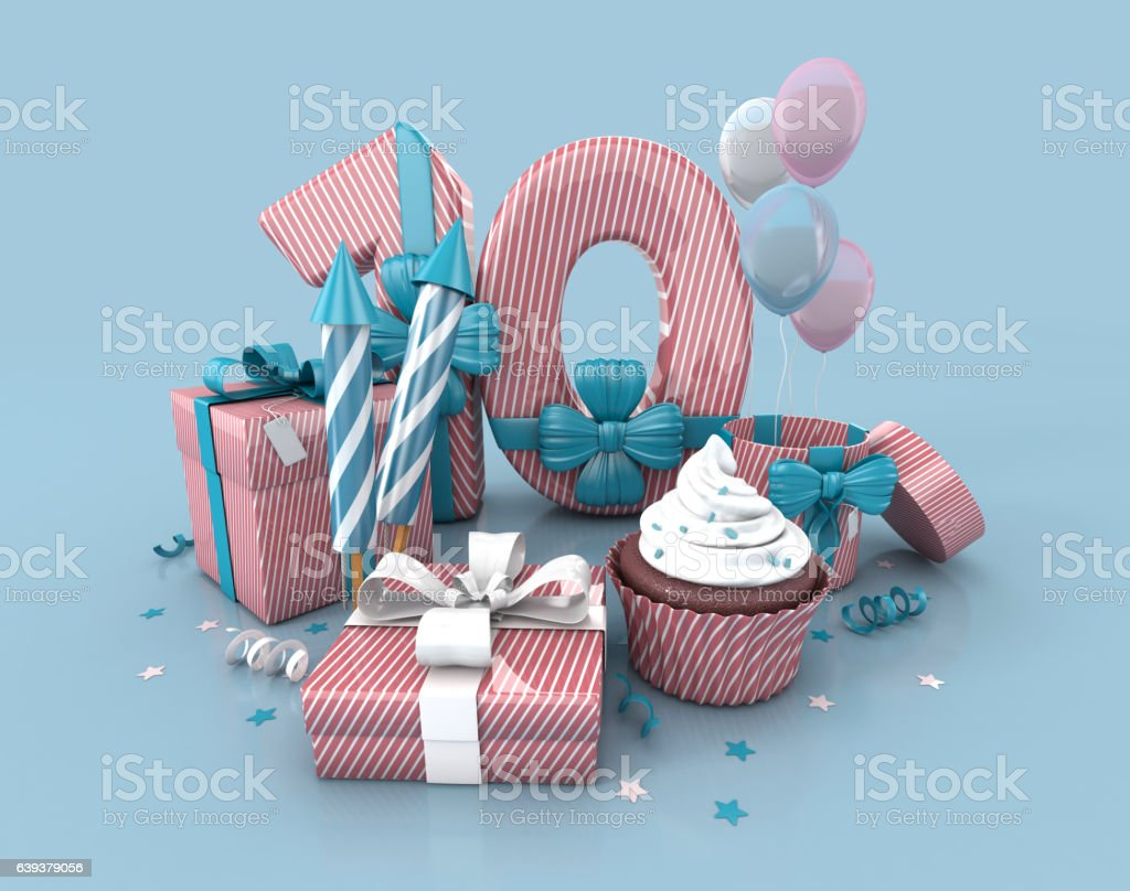 Number 10 , Decorated With Ribbon, Birthday Cupcake, Rockets, Wrap Gifts. royalty-free stock photo