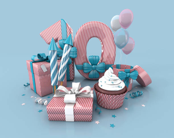 Number 10 , Decorated With Ribbon, Birthday Cupcake, Rockets, Wrap Gifts. stock photo