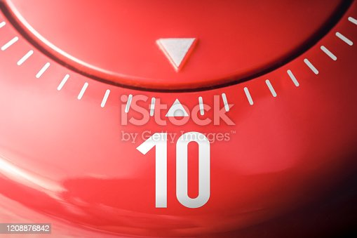 1048940572 istock photo Number 10 On A Flat Red Kitchen Egg Timer 1208876842