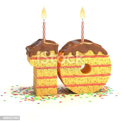 istock number 10 shaped chocolate birthday cake with lit candle 488052563