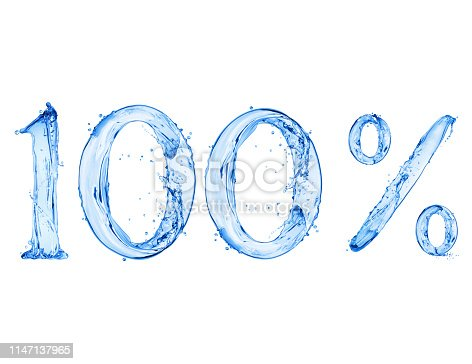 Number 100 and percent sign made with a splash of water, isolated on a white background